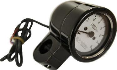 "Baron Bullet Black Tachometer for 1"" Bars White Face BA7570-00B"